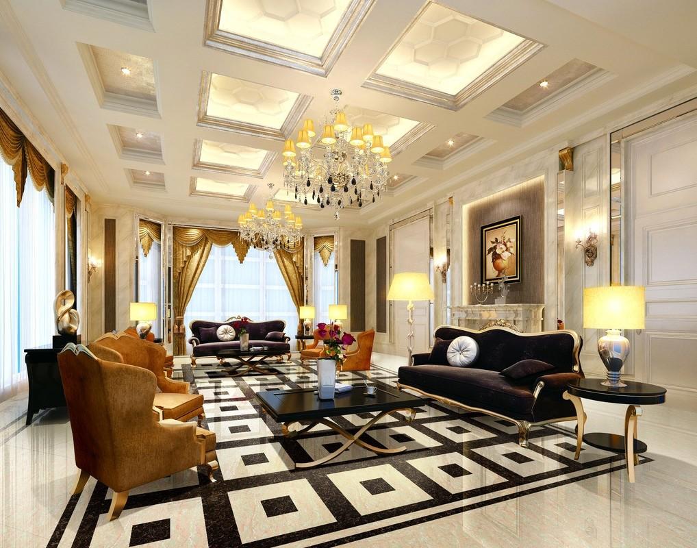Living Room Ceiling And Floor Interior Design European Style